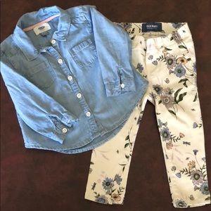 Floral pants and chambray shirt